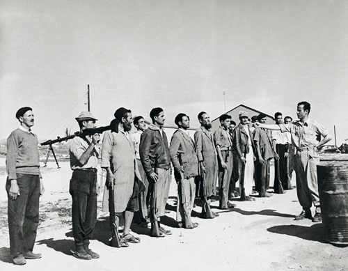 david harris, weapons training for new immigrants from north africa, , moshav harovit, 1951, courtesy the harris family