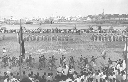 unknown photographer, palestinian event in batsa stadium in jaffa (today blummfield), 1940s,