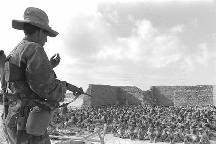 shabtai tal, gpo,  an israeli guard watching egyptian prisoners of war at el-arish, 7.6.1967